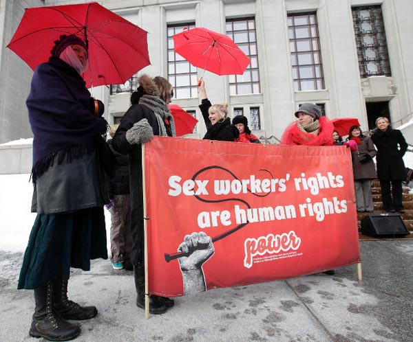 Sex workers rally at the Supreme Court of Canada. 19 July, 2012.