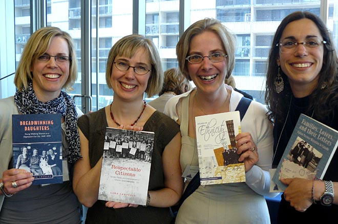 Book Launch: Congress of Social Sciences and Humanities, Montreal 2010. Left to right: Katrina Srigley; Lara Campbell; Barbara Lorenzkowski; Sonia Cancian